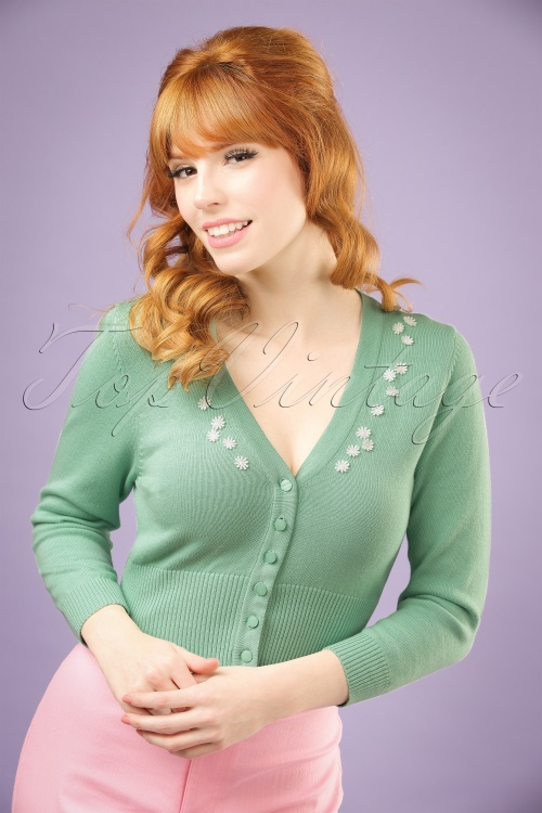 Collectif Clothing Jessica Daisy Cardigan in Antique Green 20637 20121224 0001W1