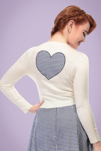 50s Jessie Gingham Heart Cardigan in Ivory and Navy