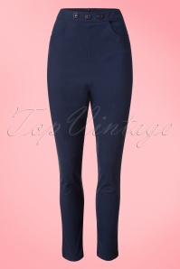 50s Talis Cigarette Trousers in Navy