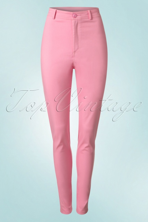 Collectif Clothing Maddie Plain Jeans in Pink 20652 20161201 0004W