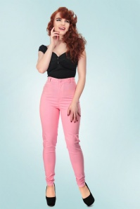 Collectif Clothing Maddie Plain Jeans in Pink 20652 20161201 01