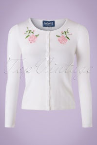 50s Jo Vintage Rose Cardigan in Ivory