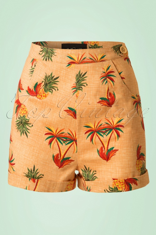 Collectif Clothing50s Ayana Pineapple Palm Shorts