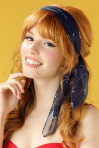 Unique Vintage Pin Up Navy White Anchor Chiffon Hair Scarf 240 39 21464 model2W