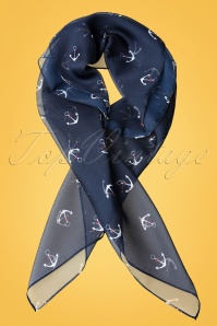Unique Vintage Pin Up Navy White Anchor Chiffon Hair Scarf 240 39 21464 01W
