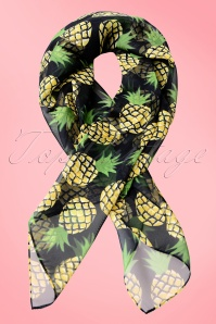 Unique Vintage Pin Up Pineapple Print Chiffon Hair Scarf 240 14 21466W