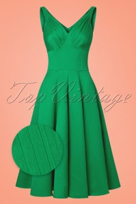 TopVintage exclusive ~ 50s Odessa Swing Dress in Emerald Green