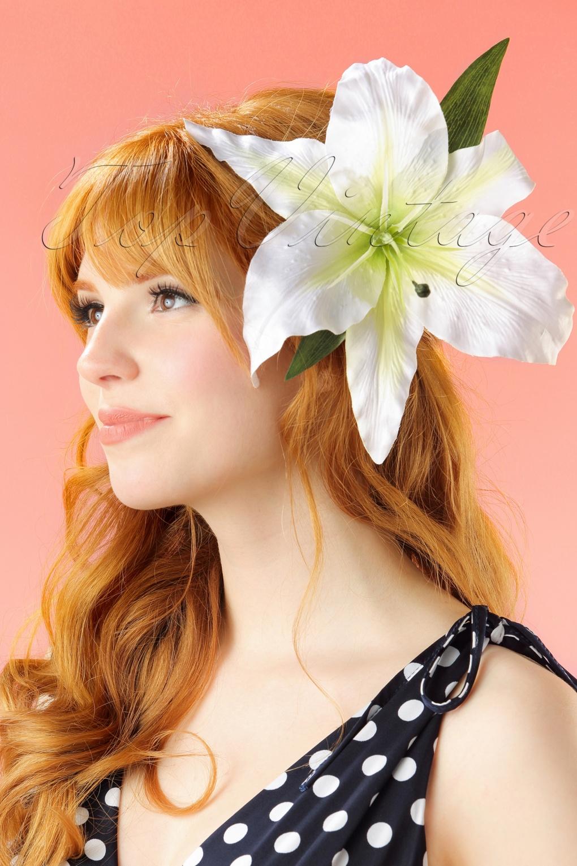 Shop 1950s Hair Accessories 50s Ava XL Hairflower in White £13.55 AT vintagedancer.com