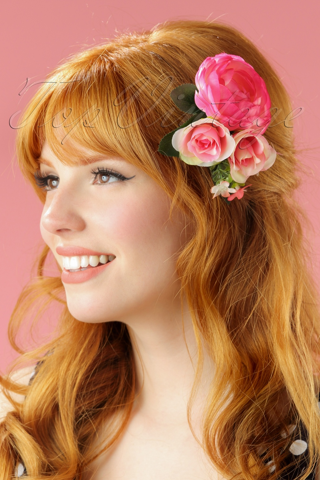 Shop 1950s Hair Accessories 60s Country Garden Roses Clip in Pink £11.13 AT vintagedancer.com