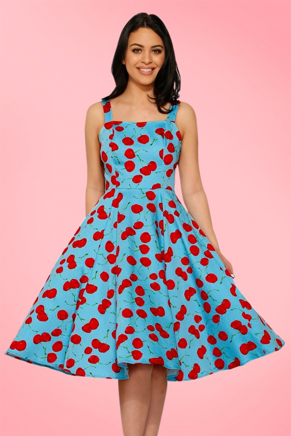 1950s Polka Dot Dresses 50s Martina Cherry Sun Swing Dress in Aqua Blue £42.42 AT vintagedancer.com