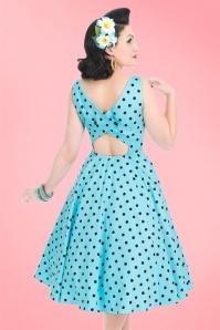 50s Rhiannon Polkadot Swing Dress in Aqua Blue