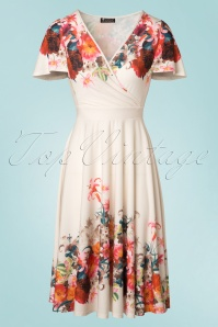 50s Lyra Elegant Flower Border Dress in Cream
