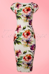 50s Marcia Floral Pique Pencil Dress in Ivory