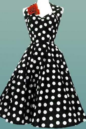 polka dot jurk zwart wit