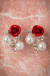 50s Diamonds Pearls And A Rose Stud Earrings