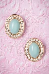 50s Mint Green Gemstone with Diamonds Studs