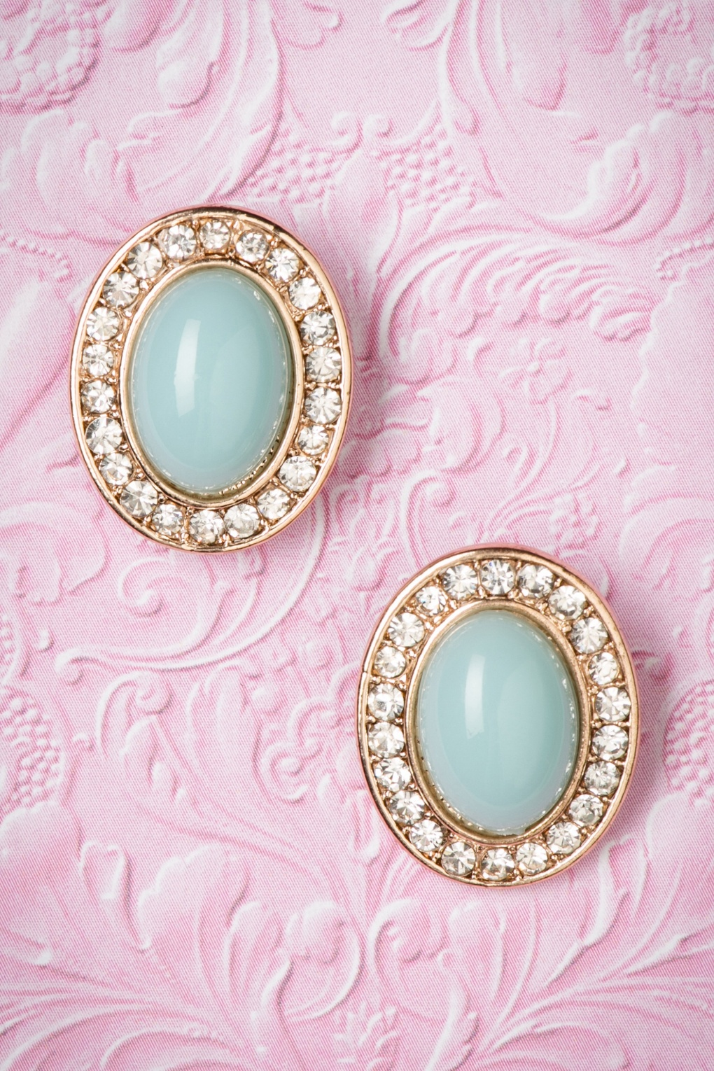 1950s Costume Jewelry 50s Mint Green Gemstone with Diamonds Studs £11.00 AT vintagedancer.com