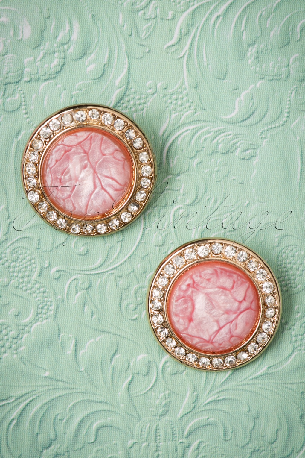 1950s Costume Jewelry 50s Pretty in Pink Round Shaped Diamond Studs £11.00 AT vintagedancer.com