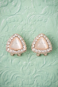 50s Dashing Diamonds Triangle Shaped Studs in Pink