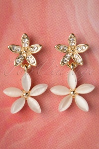 50s Decorated Diamond Flower Studs in Cream