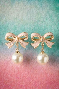 50s Cute Pink Bow and Pearl Studs in Gold