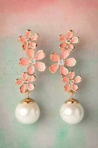 50s Snowflake Flowers and Pearl Drop Earrings Pink