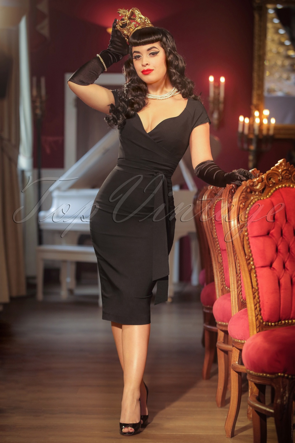 Vintage Inspired Cocktail Dresses, Party Dresses The Bombshell Pencil Dress in Black £105.32 AT vintagedancer.com
