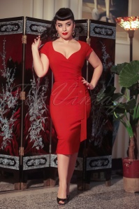 The Bombshell Pencil Dress in Lipstick Red