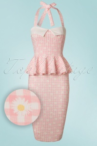 50s Rachel Checked Halter Pencil Dress in Pink and White