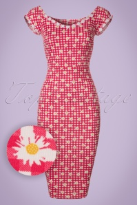 Vintage Chic Daisy Checked Red Pencil Dress 102 27 21002 20170425 0001W1