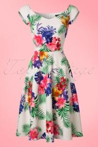 Vintage Chic Waterfall Crepe Cream Tropical Dress 102 57 21997 20170425 0002W