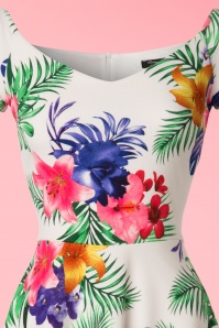 Vintage Chic Waterfall Crepe Cream Tropical Dress 102 57 21997 20170425 0002V