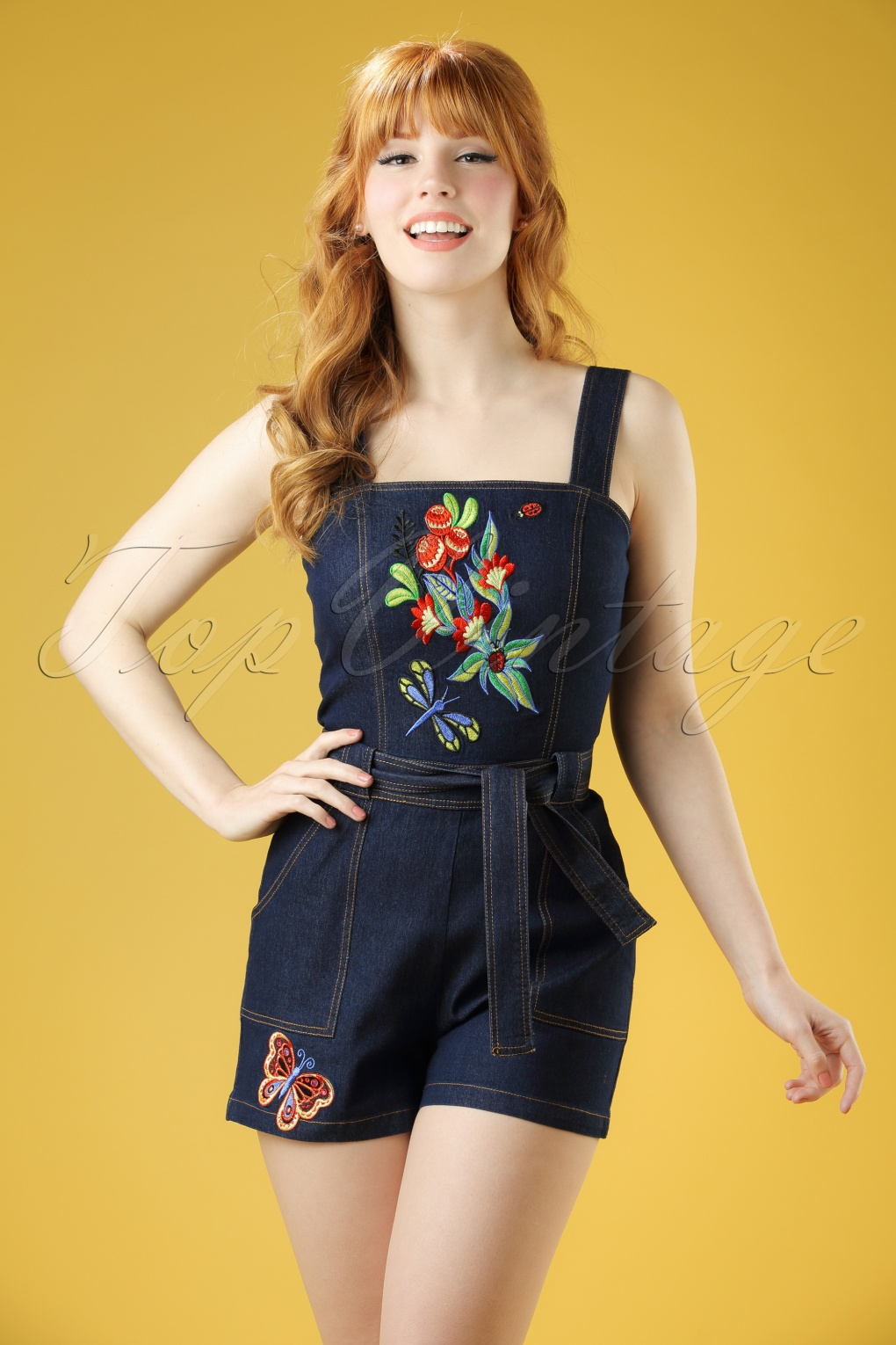 1940s Style Shorts 60s Callie Embroidered Playsuit in Denim £57.03 AT vintagedancer.com