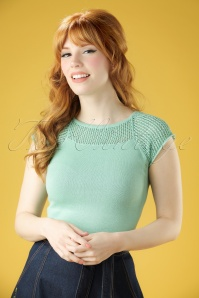40s Claire Knitted Top in Antique Green