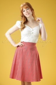 50s Tammy Gingham Skirt in Red