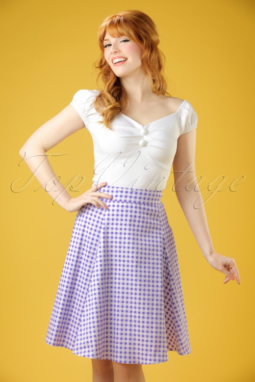 WCollectif Clothing Tammy Gingham Skirt Lilac 20662 20161130 00010W