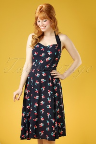 Collectif Clothing Beth Parrot Navy Halter Dress 102 39 21478 20170327 0009W