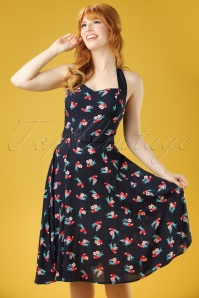 50s Beth Parrot Halter Swing Dress in Navy