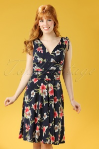 50s Grecian Flower Dress in Navy