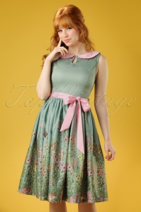Beattie Countryside Floral Swing Dress Années 50 en Vert