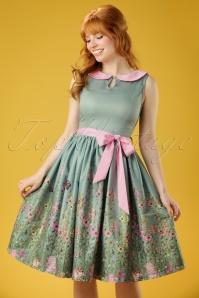 Lindy Bop Beattie Green Floral Swing Dress 102 40 21215 20170411 0011W