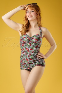 Bettie Page  Black and White Checked Cherry Swimsuit 161 14 21861 20170424 0022W