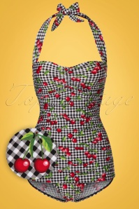 Bettie Page  Black and White Checked Cherry Swimsuit 161 14 21861 20170424 0002W1