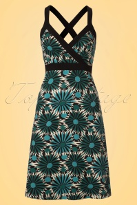 King Louie Dress in Teal and Creme 106 57 20292 20170428 0001W