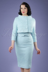 60s Maybelle Jacquard Twin Set in Light Blue