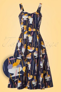 50s Pippa Ice Cream Sundae Dress in Navy