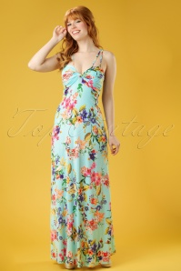 60s Tropical Multi Strap Maxi Dress in Aqua
