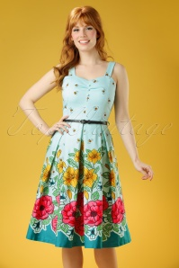 Lindy Bop Bernice Green Floral Dress 102 49 21877 20170403 0009W
