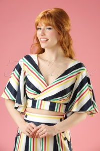 40s Gabby Stripes Top in White