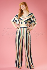 40s Hailey Striped Trousers in White